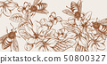 Honey, bees and flowers Vector line art card. 50800327