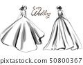 Bride silhouette Vector line art. Beautiful long 50800367