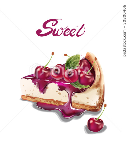 Sweet cherry cheesecake Vector watercolor. 50800406