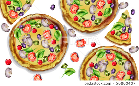Pizza pattern vector watercolor. Delicious texture 50800407