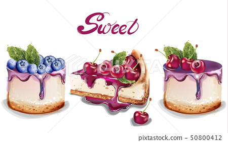 Sweet cakes set Vector watercolor. delicious 50800412