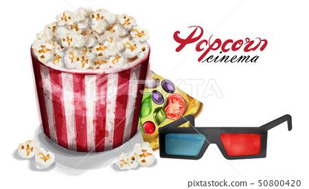Popcorn and cinema glasses Vector watercolor. 50800420