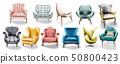 Vintage retro armchair set collection Vector 50800423