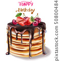 Happy birthday cake. Vector watercolor. Chocolate 50800484