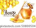 Honeycomb banner watercolor illustration. 50800504
