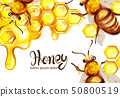 Honeycomb and bees Vector watercolor template. 50800519