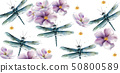 Dragon fly pattern Vector watercolor. Spring 50800589