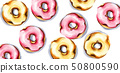Donuts pattern Vector watercolor. Sweet dessert 50800590