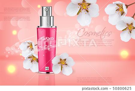 Cherry blossom spray cosmetics Vector realistic. 50800625