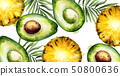 Avocado and pineapple Vector watercolor tropical 50800636