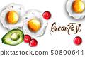 Breakfast eggs and avocado Vector. Fresh menu card 50800644