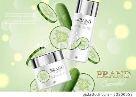 Cucumber cream collection Vector realistic. 50800655