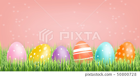 Colorful Easter eggs Vector realistic. Spring 50800728