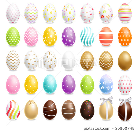 Colorful Easter eggs set Vector realistic. Spring 50800749