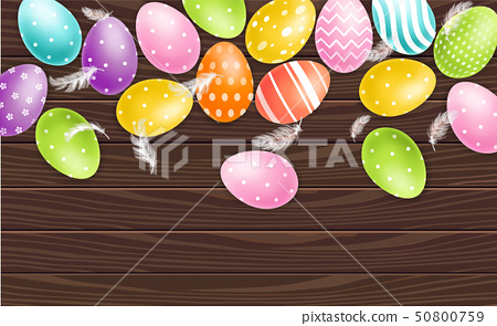 Colorful Easter eggs on wood background Vector 50800759