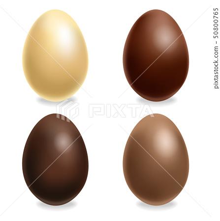 Chocolate eggs set Vector realistic. White, Milk 50800765