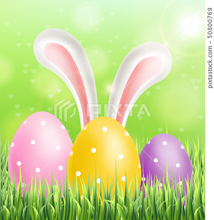 Easter colorful eggs on green grass background 50800769