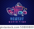 Comedy movie neon symbol Vector. Glowing sign dark 50800800