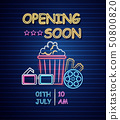 Cinema opening neon sign Vector. Glowing billboard 50800820