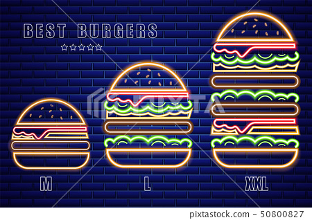 Neon burgers set of different sizes Vector poster. 50800827