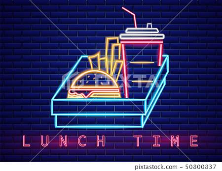 Fast food lunch menu neon billboard Vector. 50800837