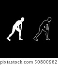 Man doing exercises for warm up Sport action male 50800962
