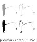 Fisherman icon outline set grey black color 50801523
