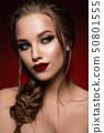 Make up. Glamour portrait of beautiful woman model with fresh makeup and romantic hairstyle. 50801555