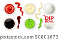 Empty Dip Bowl And Full With Sauce Set Vector 50801673