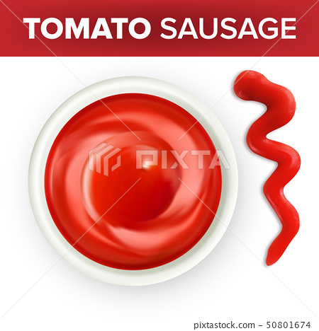 Bowl Of Ketchup Or Tomato Sauce With Splash Vector 50801674