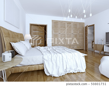 Unmade bed in minimalist bedroom 50801731