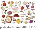 Set of different food for morning breakfast scrambled eggs and vegetables 50802315