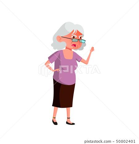Caucasian Old Woman Vector. Elderly People. Senior Person. Isolated Cartoon Illustration 50802401