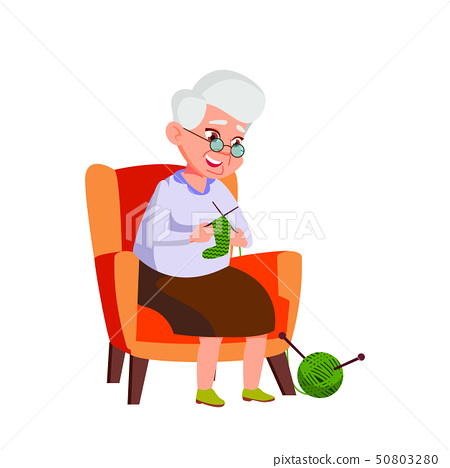 Caucasian Old Woman Vector. Elderly People. Senior Person. Isolated Cartoon Illustration 50803280