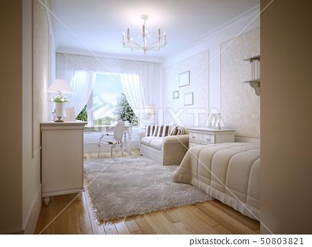 Bright Teenage Bedroom Provence Style Stock Illustration 50803821 Pixta