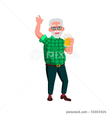 European Old Man Vector. Elderly People. Senior Person. Isolated Cartoon Illustration 50803926