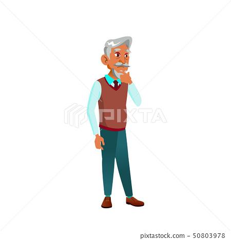 Arab, Muslim Old Man Vector. Elderly People. Senior Person. Isolated Cartoon Illustration 50803978