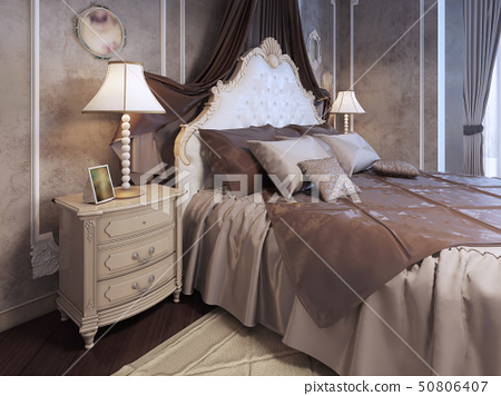 Expensive bed at neoclassic bedroom 50806407