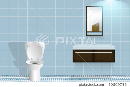 mirror and sink in the toilet room 50809756