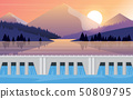 landscape of dam at the river in the morning 50809795