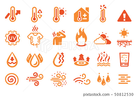 Hot temperature reaction icon. heat weather 50812530