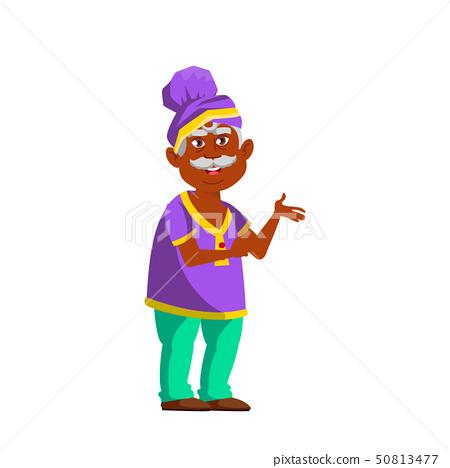 Indian Old Man Vector. Elderly People. Senior Person. Isolated Cartoon Illustration 50813477
