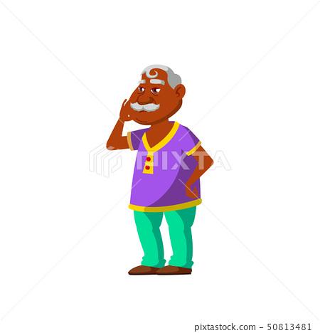 Indian Old Man Vector. Elderly People. Senior Person. Isolated Cartoon Illustration 50813481
