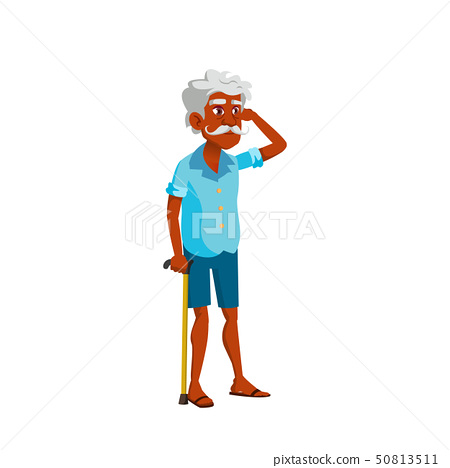 Indian Old Man Vector. Elderly People. Senior Person. Isolated Cartoon Illustration 50813511