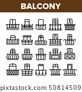 House Balcony Forms Linear Vector Icons Set 50814509