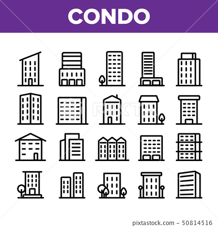 Dwelling House, Condo Linear Vector Icons Set 50814516