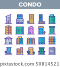 Dwelling House, Condo Linear Vector Icons Set 50814521