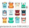 Set of backpacks or schoolbags flat style vector illustration isolated on white. 50814812