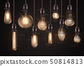 Set of 3d different shaped glowing light bulbs hanging on wires realistic style 50814813