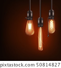 Set of 3d different shaped glowing light bulbs hanging on wires realistic style 50814827